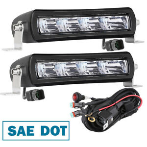 Pair Pro Dot Sae Projector High Beam Led Fog Light Bar Driving Work Off Road 7