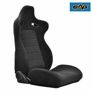 1 X Black gray Cloth Fully Reclinable Sports Style Racing Seat mounting Slider