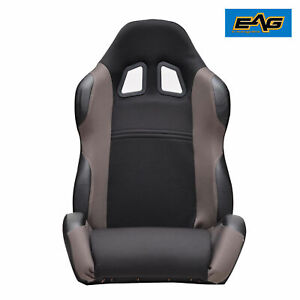 1 X Black Gray Trim Fully Reclinable Sports Racing Seat Mounting Slider