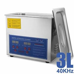 Hfs r Commercial Grade Digital Ultrasonic Cleaner Stainless Steel 3l Capacity