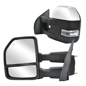 Towing Mirrors For 2015 2019 Ford F150 Pickup Power Heated Signal Chrome 8 Pin
