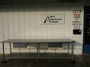 10 Foot Stainless Work Table With 2 Drawers 4796