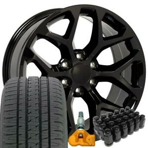 22 Black Rims Fit Chevy Gmc Trucks Snowflake Wheel Tire Tpms Lugs Set