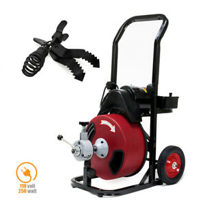 Stark Commercial 250w Sewer Snake Drill Drain Auger Cleaner Cable 50 feet Lon