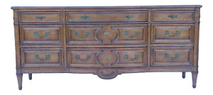 An Auffray Co Carved Country French Long Dresser Bronze Hardware Triple Fine