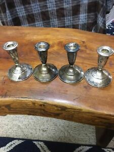 Vintage Fisher Sterling Candle Holder Set Of Four Marked 819 W Protectors