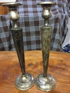 Vintage Sterling Candle Holder Set Of Two 12 Tall Marked 812