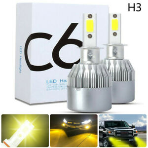 2pcs H3 Car Led Headlight Conversion Kit 1600w 260000lm Fog Lights 3000k Yellow