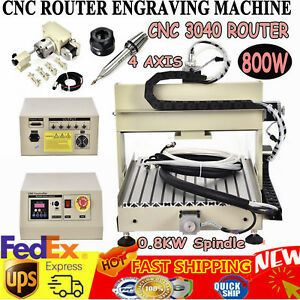 Diy 800w 4axis Cnc Router 3040 Engraver Milling drilling 3d Wood Carving Machine
