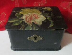Antique Wood Sewing Trinket Box With Roses