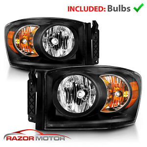 For 2006 2008 Dodge Ram 1500 2500 3500 Pickup Diamond Black Headlights Headlamps