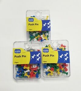 225 Pcs Push Pin Pins Thumb Tack Multi Color 3 8 Head For Office School Home