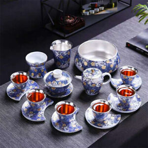 Luxury Vintage 999 Pure Silver Tea Set Tea Pot Gaiwan Tea Cups Filter Cup Mats