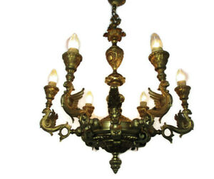 Gothic Chandelier 6 Arms Lights Cariatides Faces Dragons Brass Impressive Wow