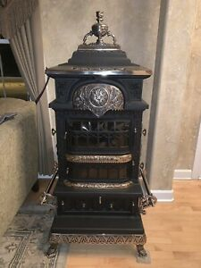 Gold Coin 66 Antique Cast Iron Parlor Stove Restored 4 Tile Very Rare Stove