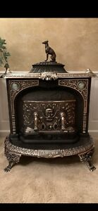 Beautiful Very Rare American Fireside Cast Iron Fireplace Parlor Stove