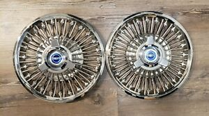 1965 1966 1967 Ford Mustang Fairlane 14 Wire Spoke Spinner Hubcaps Oem Fomoco