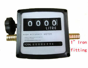 New 4digital Diesel Fuel Oil Flow Meter Counter With Iron Fitting Accuracy 1