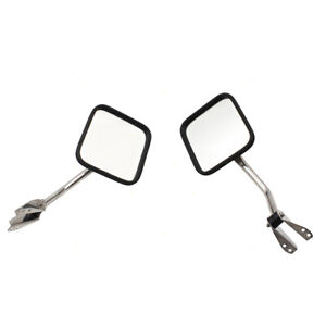 Pair Side Mirrors For Jeep Cj5 Cj7 Wrangler Manual Set Chrome Windshield Mounted