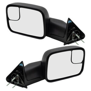 Pair Tow Mirrors For 94 02 Dodge Ram Pickup Manual New Arm Design W Brackets