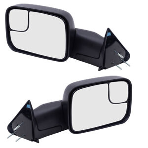 Pair Tow Mirrors For 94 02 Dodge Ram Pickup Truck Manual New Arm Design L R Set