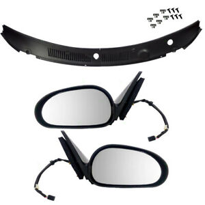 Textured Power Mirrors 2 Pc Wiper Cowl Grille Panel For 99 04 Ford Mustang