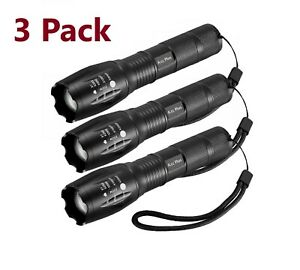 3 x Tactical 18650 Flashlight Ultrafire T6 High Powered 5Modes Zoomable Aluminum $12.45