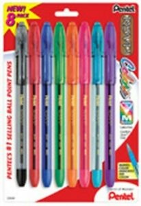 Pentel Bk91crbp8m Ballpoint Pens Assorted R s v p Colors 8 Count Pack Of 6