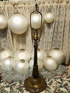 Antique Ml Co Miller Company Slag Glass Reverse Painted Table Lamp Only 236