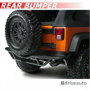 For 2007 2018 Jeep Wrangler Jk Black Texture Tubular Rear Bumper Guard Off road