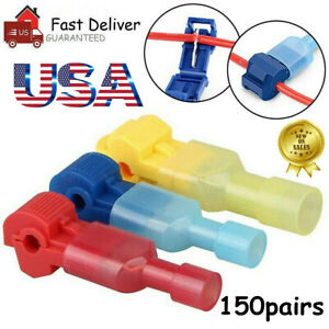 300pc T taps Wire Terminal Connectors Insulated 22 10 Awg Quick Splice Combo Kit