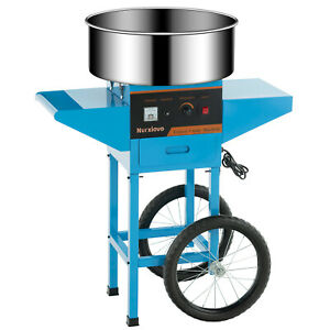 Cotton Candy Machine Electric Commercial Sweet Floss Maker Cart W wheels Blue