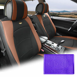 Leatherette Seat Cushion Covers Front Bucket Brown W Purple Dash Mat For Auto