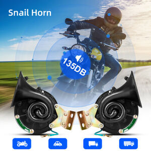 2pcs Loud 135db 12v Electric Snail Air Horn Sound For Car Motorcycle Boat Truck
