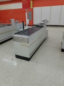 Checkout Counters Electric Belt Used Grocery Store Fixtures Carousel Bag Stand