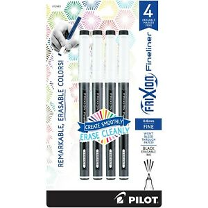 12461 Pilot Frixion Fineliner Erasable Marker Pen Fine 0 6mm Black Pack Of 4