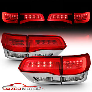 2014 2015 Jeep Grand Cherokee Red Clear Led Brake Tail Lights Pair Rh Lh