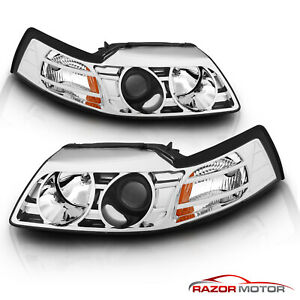 1999 2000 2001 2002 2003 2004 Ford Mustang Chrome Projector Headlights Set