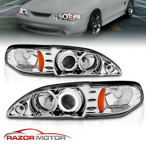 led Halo 1994 1995 1996 1997 1998 Ford Mustang Projector Chrome Headlights Set