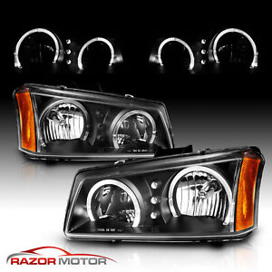 Led Halo 2003 2006 Chevy Silverado 1500 2500 3500 Avalanche Black Headlights