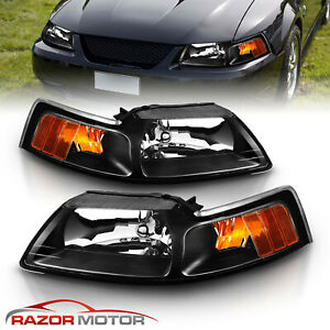 1999 2000 2001 2002 2003 2004 Ford Mustang Factory Oe Style Black Headlights Set