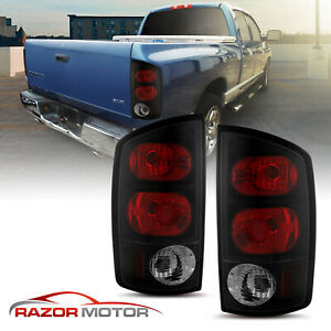 For 2002 2005 Black Smoke Euro Tail Light Pair Dodge Ram 1500 2500 3500 Truck