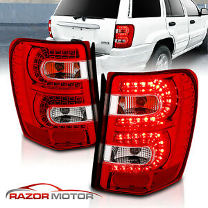 1999 2004 For Jeep Grand Cherokee Red Euro Led Rear Brake Tail Lights Pair