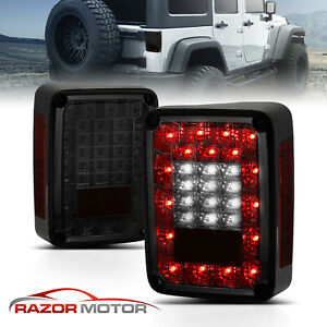 full Led 2007 2015 Jeep Wrangler Jk Smoke Tail Lights Rear Brake Lamps Pair