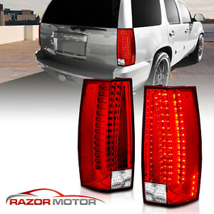 2007 2014 Chevy Suburban tahoe yukon xl Denali Red Clear Led Tail Lights Lamps