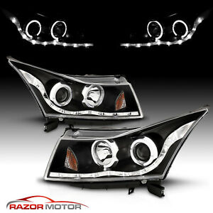 dual Led Halo 2011 2012 2013 2014 2015 Chevy Cruze Black Projector Headlights