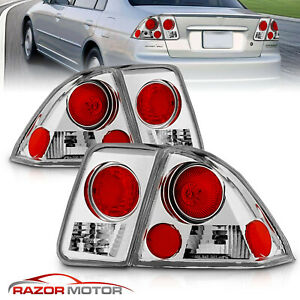 For 2001 2002 2003 2004 2005 Honda Civic Sedan Chrome Tail Lights Brake Lamps