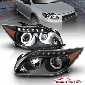 Led Halo For 2004 2010 Scion Tc Coupe Black Led Tube Projector Headlights Pair
