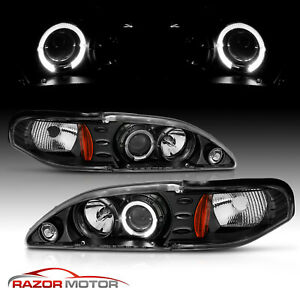 94 98 Ford Mustang Angel Eye Halo Ring Projector Black Headlights Lh Rh Lamps 97
