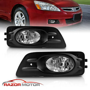 For 2006 2007 Honda Accord 4dr Sedan Clear Bumper Fog Lights w Wire Kit Switch